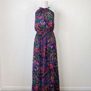 ModCloth Black Floral Chiffon Halter Maxi Dress